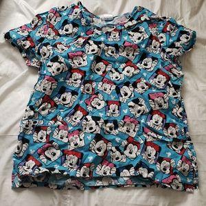 Mickey/minney mouse size L scrub top